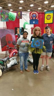 My Possibilities students show off their artwork at Dallas Comic Con - Photo cred Krystle Starr